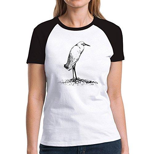 Eddany Snowy Egret sketch Damen Raglan T-Shirt - Snowy Egret Tiere