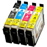 4Cartuchos de Tinta para Epson Stylus T0711de T07141–1de 1–1–BK, 14ml, color por 14ml, compatible