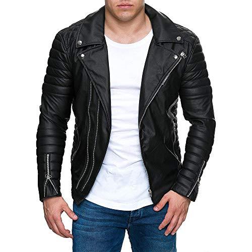 Biker jacket,zolimx giacca uomo giacca davis uomo iubbotto bomber vera pelle con collo, fondo e polsini in lana, nero