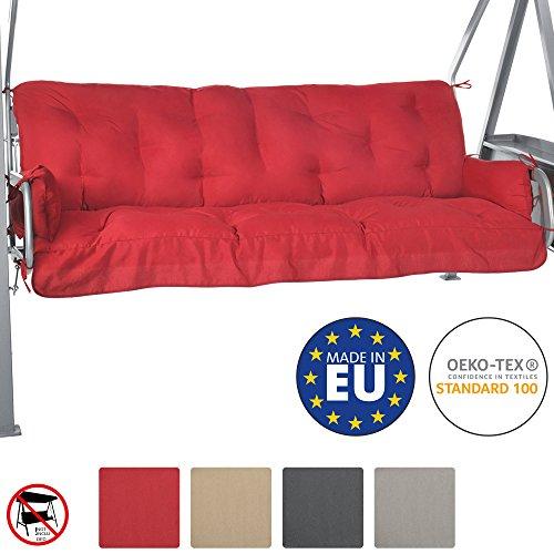 Beautissu Auflage Flair HS 180x50x8cm für Hollywood-Schaukel Garten-Bank-Auflage Schaumflockenfüllung Rot