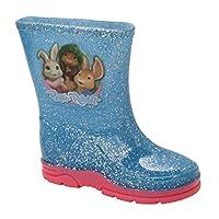 Girls Lily Bobtail Peter Rabbit Glitter Wellies Wellington Boots UK Size 5-10