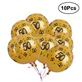 Toyvian Globos del Aniversario 50 del látex del Oro de 12 Pulgadas para Las Decoraciones de la Fiesta de Aniversario del cumpleaños, Paquete de 10