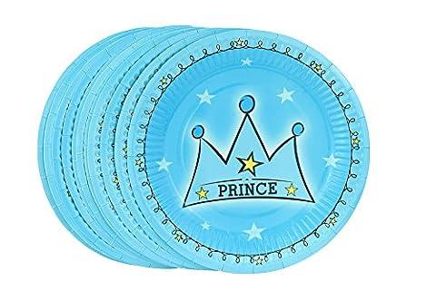 FiveSeasonStuff 18.5cm (7.3'') Papier Plaques / Assiette de fête d'anniversaire partie, plaques de gâteau dessert (Style n °5 Prince, 12pcs)