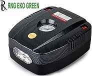 RNG EKO GREEN - Portable Tyre Inflator for Car/Bike 12V/160PSI Air Compressor with LED-Black (high Power 35L/m