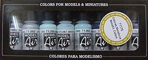 Vallejo Model Air Set de couleurs métalliques de peinture acrylique pour air brush–Couleurs assorties (Lot de 8)