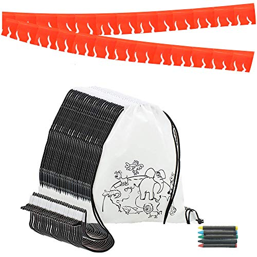 Partituki Mitgebsel Kindergeburtstag. 30 Taschen Zu Malen, 30 Sets mit 5 Farbigen Wachsen und eine 20m Rote Girlande. Für Kindergeburtstag Gastgeschenke und Kleine Geschenke für Kinder Gourmet-rucksack
