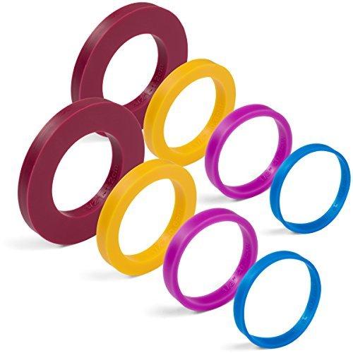 Greenolive Rolling Pin Guide Ring Spacer Bands (8Stück-Set) Flexible Silikon Bunte rutschfeste auf Backen Zubehör, 13/10,2cm zu 5,1cm breit Teig Rollen