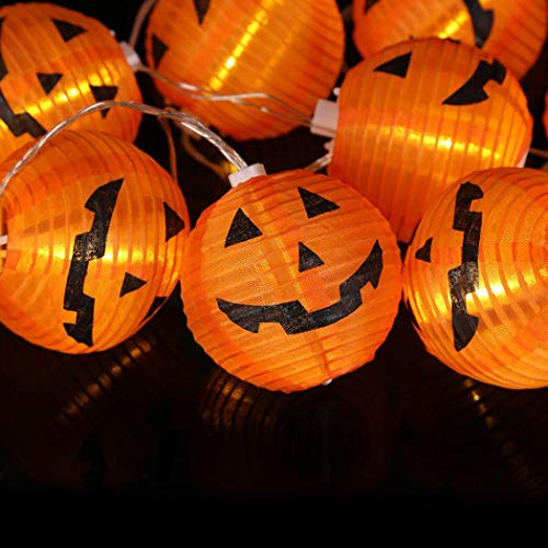 Pumpkin Dekoration Lichter,Transwen Kürbis String Lights Lichterkette Halloween Dekoration Lichter Warmes Weiß mit 20 LED-Lichterkette (10Led Gelb)