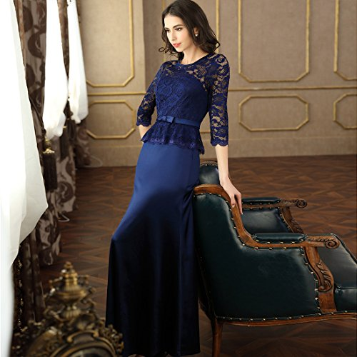 Miusol Damen Abendkleid 3/4 Arm Elegant Spitzen Kleid Brautjungfer Langes Cocktailkleid Navy Blau Gr.L - 5