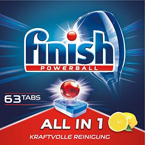 Finish All in 1 Citrus, Spülmaschinentabs, Geschirrspültabs für kraftvolle Reinigung, Geschirrspülmittel, XXL Pack, 60 + 3 Tabs