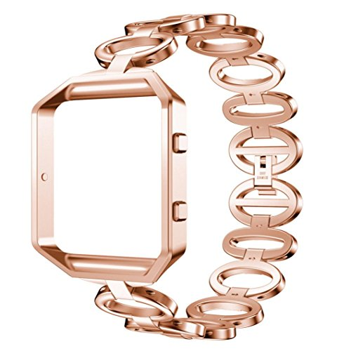 Hunpta Edelstahl Armband Smart Watch Band Strap und Case Cover Compatible für Fitbit Blaze (Rose Gold)