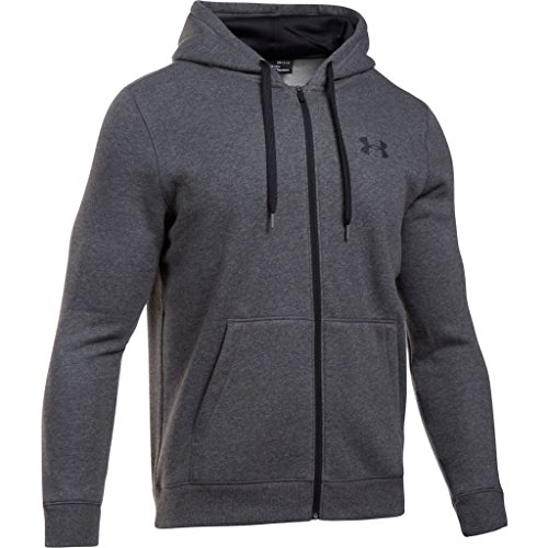 Under Armour Men Rival Fitted Full Zip Warm-Up Hoodie, Grey (Carbon Heather), Large