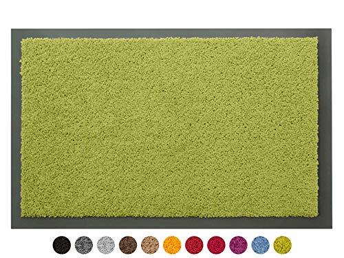 Schmutzfangmatte Sauberlauf Matte DANCER - Grün, 80x120 cm, Waschbare, Rutschfeste, Pflegeleichte Fußmatte, Eingangsmatte, Küchenläufer Matte, Türmatte Haustür Innen & Außen