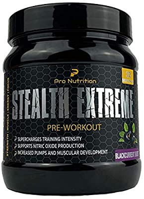 Pro Nutrition Stealth Extreme Pre-Workout 32 Servings SUPERCHARGES Training Intensity • Supports Nitric Oxide Production • Increased Pumps and Muscular Development for Women & Men from Pro Nutrition