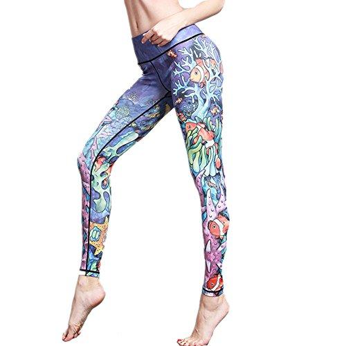 Morbuy Damen Leggings, Sport Gym Yoga Workout Pants Basic Fitness Hohe Taille Jogginghose Trainingshose Skinny Hosen Hose Sporthose (L, Unterwasserwelt) - Hose Asics Workout