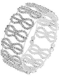 The Jewelbox Silver Plated CZ Brass Silver Stretchable Bangle Cuff Kada Bracelet Girls Women