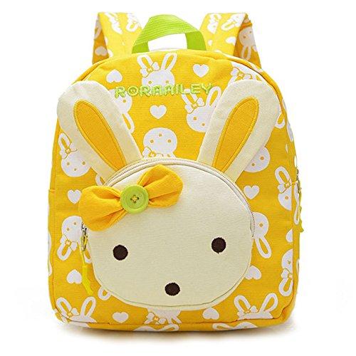 Vox Niedlich Bär Hase Tiere Kleiner Kinderrucksack Canvas Kindergartenrucksack Tasche Mädchen Jungen Babyrucksack Outdoor Schultasche Backpack für 1-3 Jahre Alte Baby Zum Wandern (Gelb)