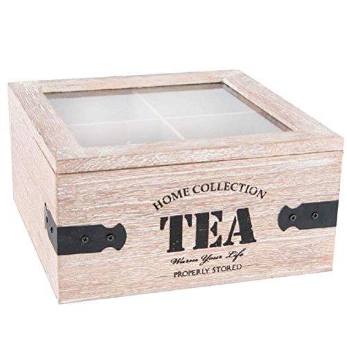 Boite carrée en bois pour le thé