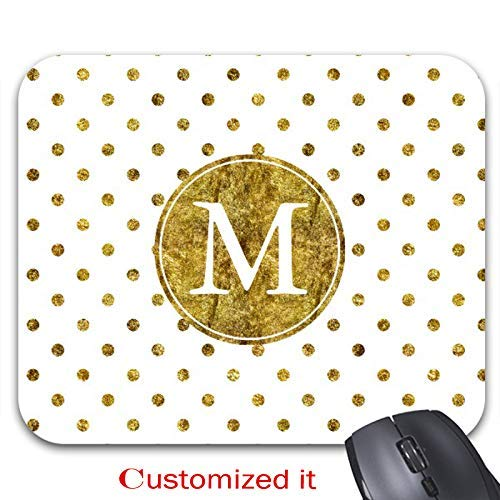 Chic Gold Glam Dots Monogram Mouse Pad Stylish Office Computer Accessory 9.86 x 7.86in