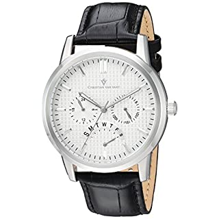 Christian Van Sant Men's 'Alden' Quartz Stainless Steel and Leather Casual Watch, Color:Black (Model: CV0323)