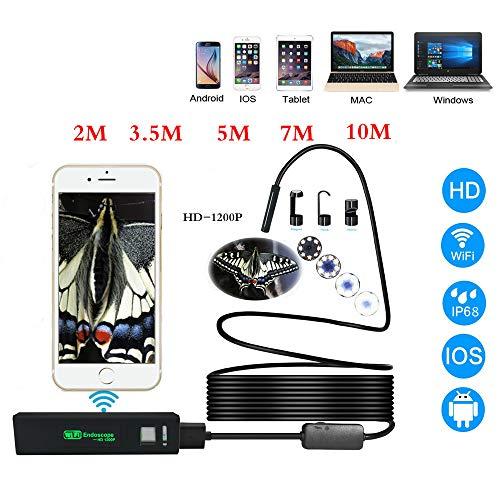 HUAXING WiFi Endoscope 2.0 MP HD Wireless Borescope Camera 16.4Ft Semi-Rigid Snake Camera für Android und iOS Smartphone, iPhone, iPad, Tablet-Schwarz,7M
