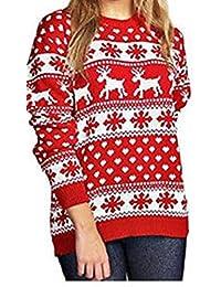 Rentier Schneeflocken Weihnachten Pullover für Frauen Pullover (SNOE Flakes Red, S)