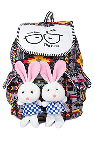 Trendifly New Stylish Bunny Backpack Bag for Women and College Girls Teddy Printed Multicolour Image 2