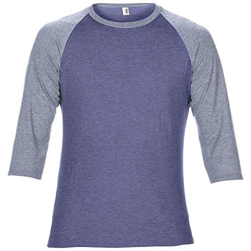 Anvil - Maglietta Bi-Colore Maniche 3/4 - Unisex Blu/Grigio
