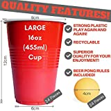 Bigs Original Games Beer Pong Set | Rules & Free Ebook Included! | 24 Balls + 24 Red Cups | Great Kit for a Fun Party Drinking Game