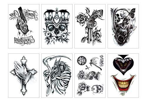 PAMO 8 Blätter Halloween Temporäre Tattoos Aufkleber, Wasserdichte Waffe Kreuz Rose Schädel Teufel Tattoos Aufkleber für Party ()