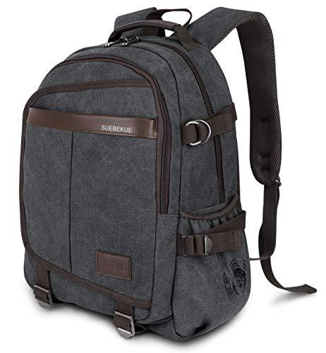 Rucksack Herren, Schulrucksack Jungen Teenager, RJEU Canvas Leder Daypacks mit 15.6 laptopfach für Business Arbeit Schule Universität Herren 20-35L