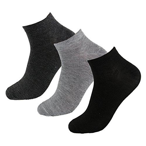 12 Paar L&K Herren Sneaker-Socken Füßlinge 39/42 schwarz/grau