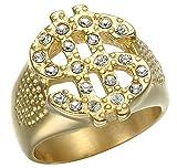 XBYBEI Diseño de Moda para Hombre Chapado en Oro de Bling Hollow US Dollar Anillos de Diamantes de joyería de Acero Inoxidable Hombres Niños