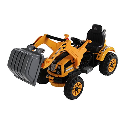 HOMCOM Kids Electric Ride On Toy Car 6V Battery Operated Excavator Tractor Digger Dumper Yellow