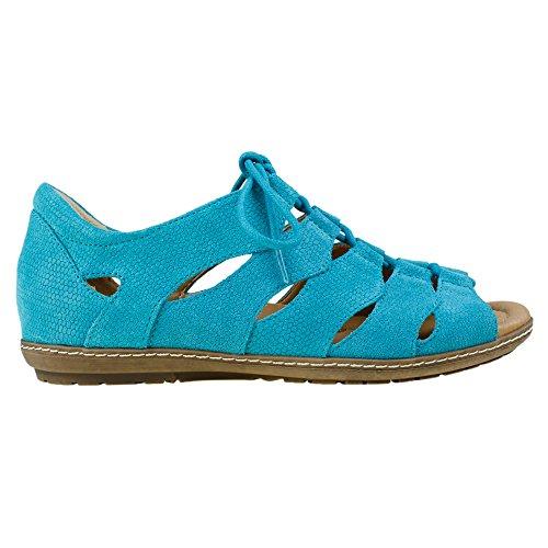 Earth Plover Damen Nubukleder Gladiator Sandale Turquoise