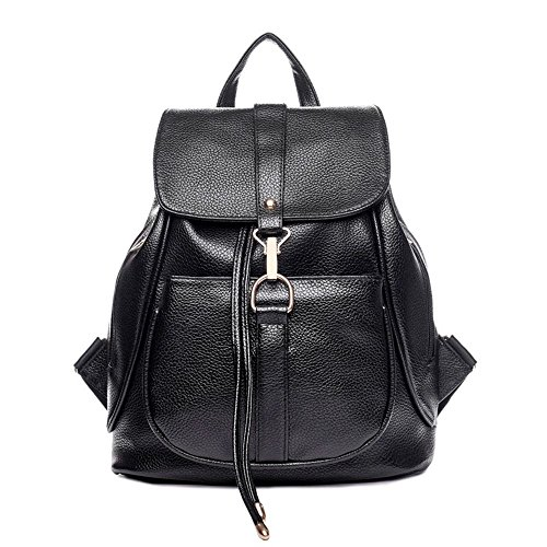 Naerde moda borsa a tracolla zaino donne PU Leather Ladies Shoping zaino Travel (nero) Nero