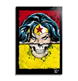 Wonder Woman (Skull Series, Dc Comics) - Illustration Originale Encadrée, Pop-Art Peinture, Presse Artistique, Poster, Toile Imprimée, Image sur Toile, Affiche d'Art, Affiche de Film