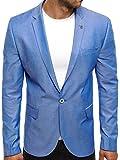 OZONEE Herren Sportsakko Sportliche Sakko Jackett Slim Fit Blazer Anzugjacke Business Anzug Kurzmantel BLACK ROCK 02 L HELLBLAU