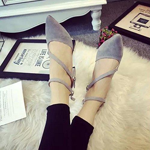 Fashion semplice-Sandali con tacco alto, cinturino alla caviglia, in pelle scamosciata, a punta, con tutte le dita-Scarpe da-te Grey