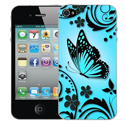 Mobile Case Mate iPhone 4s clip on Dur Coque couverture case cover Pare-chocs - blue love embrace Motif blue caress