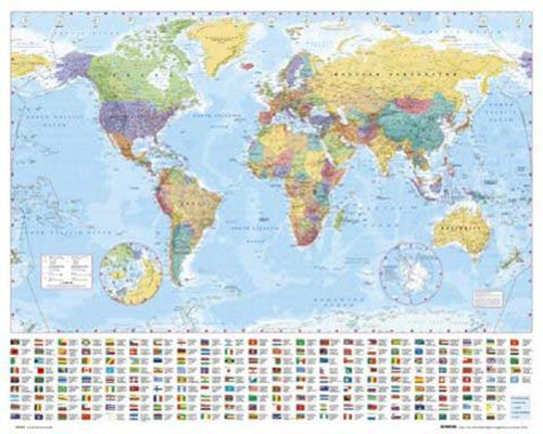 empireposter - Landkarten  - World Map - Größe (cm), ca. 50x40 - Mini-Poster, NEU - - Mini-poster