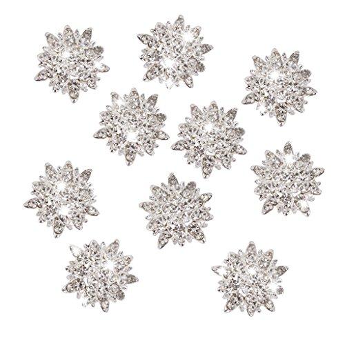 10pcs Adornos Joyas Botones Cristal Diamante de Imitación Flores de G