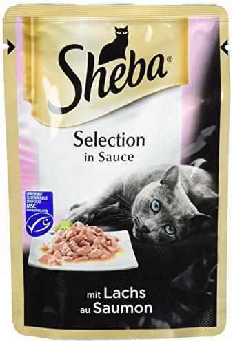 Sheba Adult Katzen-/Nassfutter, für erwachsene Katzen Selection in Sauce, mit Lachs, 12 Portionsbeutel (12 x 85 g)