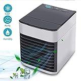 Nclon Air Climatiseur Mini Refroidisseur Silencieux, Refroidisseur d'air Portable 3 Vitesses Refroidisseur USB Ventilateur Purificateur Humidificateur Ménage Bureau-Blanc