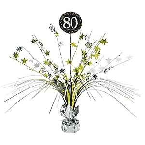 Centro de mesa para festejar 80 aniversario Amscan International 9901717, 45 cm, centro de celebración dorado con efecto de lluvia de estrellas.