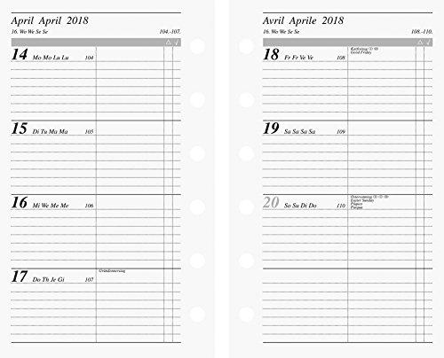 rido/idé 706991718 Ersatzkalendarium fun 2018; Blattgröße 7,6 x 12,7 cm Aufteilung: 2 Seiten = 1 Woche; Inhalt: viersprachig: deutsch, englisch, französisch, italienisch; 112 Seiten