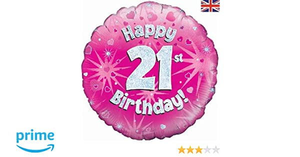 OakBSC Happy 21st Birthday Pink Holographic Balloon Delivered Helium Inflated In A Box Amazoncouk Toys Games
