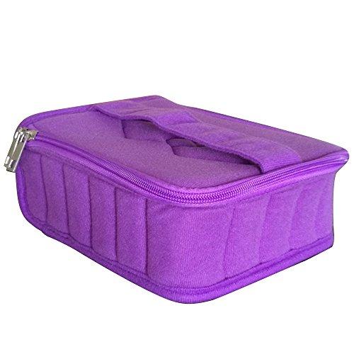 Sac de Rangement pour 5ml 10ml 15ml Bouteille d'Huile Essentielle Storage,30 Compartiments,Violet