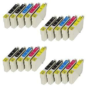 20 Cartouches d'encre xL avec puce et indicateur de niveau pour imprimantes epson expression home xP - 102, xP - 202 xP - 205 xP - 212 xP - 215 xP - 225, xP - 30 xP - 305 xP - 312 xP - 315 xP - 322, xP - 325, xP - 402, xP - 405 xP - 405WH, xP - 412 xP - 415, xP - 422, xP - 425