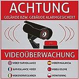 6 Achtung Videoüberwachung Aufkleber - Schild - Sticker (Kameraüberwachung - Überwachungskamera - Alarmanlage - Alarmgesichert - Hinweisschild - Warnschild) Edelstahl-Optik - 10 cm x 10 cm